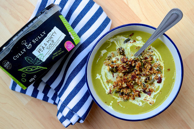 Cully & Scully Pea and Mint Soup with Bacon Granola | www.rachelphipps.com @rachelphipps
