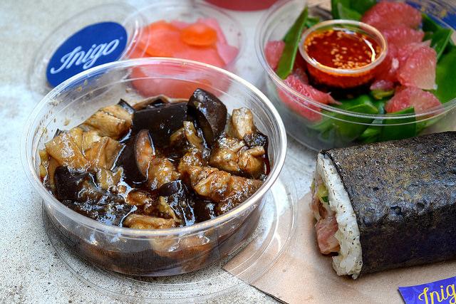Taiwanese Aubergine Salad from Inigo, Soho #sushi #lunch #london #soho #handrolls   www.rachelphipps.com @rachelphipps