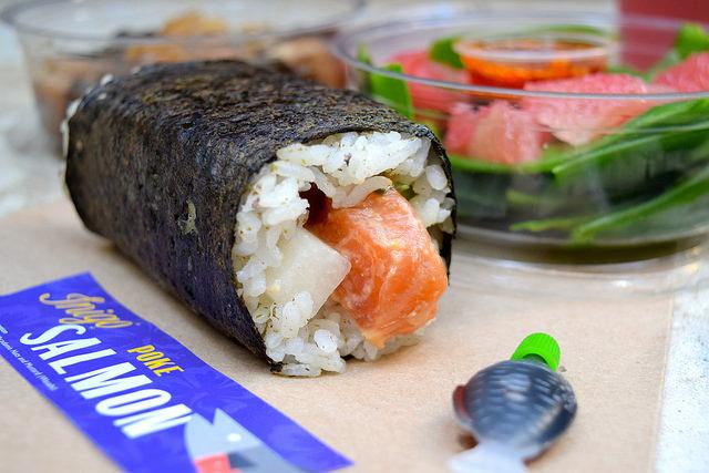 Poke Salmon Hand Roll from Inigo, Soho #sushi #lunch #london #soho #handrolls   www.rachelphipps.com @rachelphipps