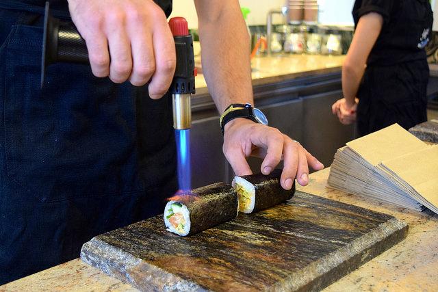Finishing Sushi Hand Rolls from Inigo, Soho #sushi #lunch #london #soho #handrolls   www.rachelphipps.com @rachelphipps
