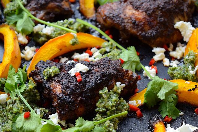 Roast Mexican Chicken with Pumpkin, Chilli & Pesto #chicken #pumpkin #onepan #pesto #feta #chilli #roast #lecreuset | www.rachelphipps.com @rachelphipps