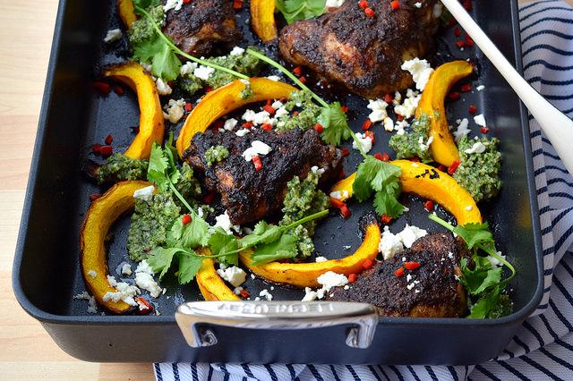 Mexican Chicken with Pumpkin, Chilli & Pesto #chicken #pumpkin #onepan #pesto #feta #chilli #roast #lecreuset | www.rachelphipps.com @rachelphipps