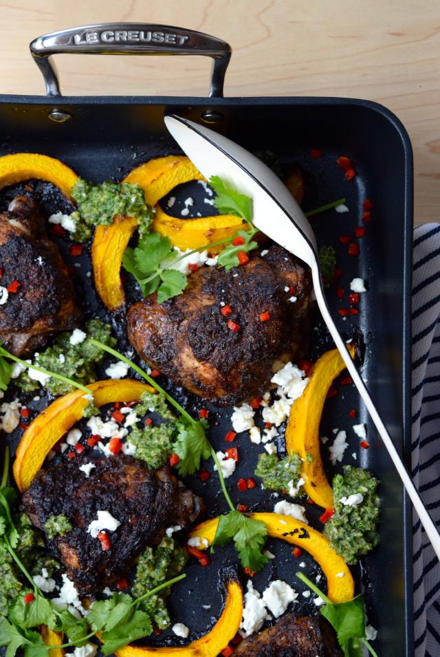 Mexican Chicken with Pumpkin & Pesto #chicken #pumpkin #onepan #pesto #feta #chilli #roast #lecreuset | www.rachelphipps.com @rachelphipps