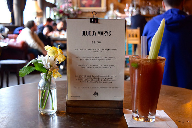 Bloody Mary Menu at The Old Queen's Head, Islington | www.rachelphipps.com @rachelphipps