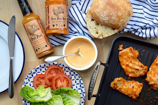 Cheeky Peri Peri Chicken Burgers with Mahi Fine Foods #recipe #diy #burger #periperi #chicken #weeknight   www.rachelphipps.com @rachelphipps