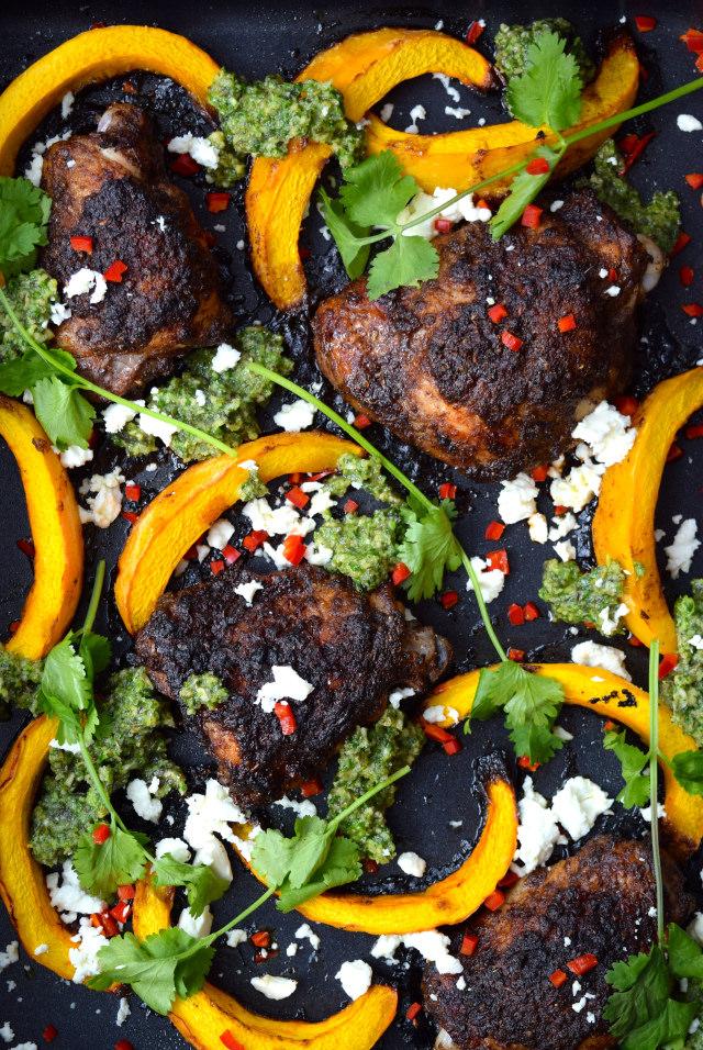 Roast Mexican Chicken with Pumpkin & Pesto #chicken #pumpkin #onepan #pesto #feta #chilli #roast #lecreuset | www.rachelphipps.com @rachelphipps