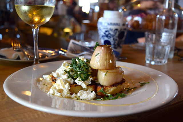 Roasted Shallots with Goats Curd, Charred Toast, Mint & Honey at Wild Goose #smallplates #wildgoose #thegoodsshed #canterbury   www.rachelphipps.com @rachelphipps
