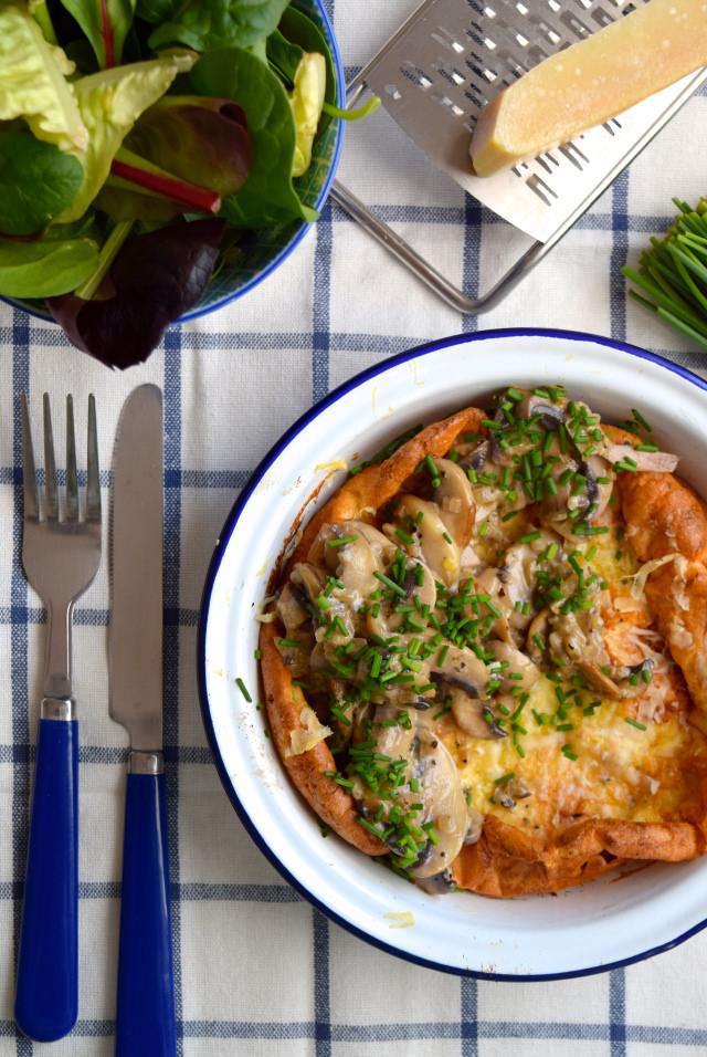 Creamy Mushroom Savoury Dutch Baby Pancake #dutchbaby #pancake #mushroom #pancakeday