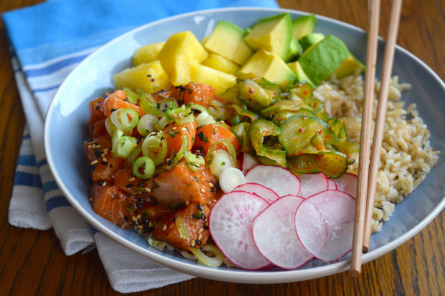 Easy Salmon Poke Bowl #poké #salmon #fish #healthy