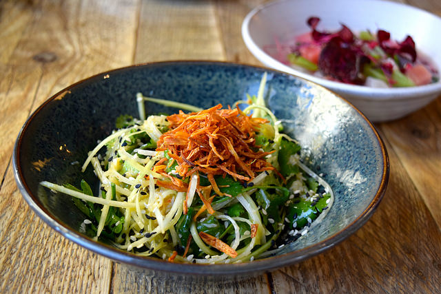 Spicy Asian Green Papaya Salad with Fresh Crab at Chicama, Chelsea