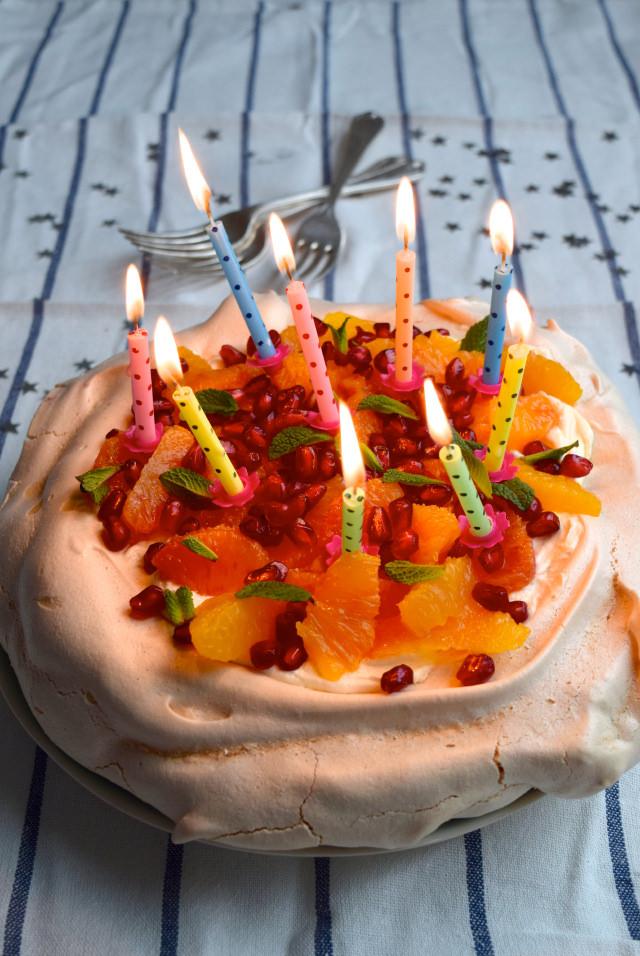 A (Smaller) Winter Citrus Celebration Pavlova #pavlova #bloodorange #dessert #pomegranate #mint #meringue