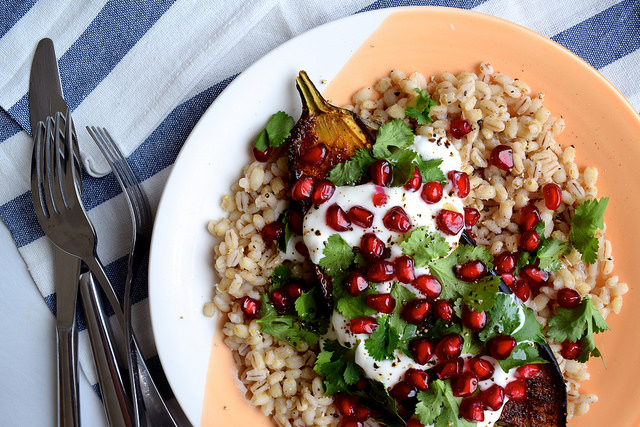 Middle Eastern Spiced Aubergine with Barley, Yogurt & Pomegranate #aubergine #eggplant #middleeastern #barley #pomegranate #yogurt