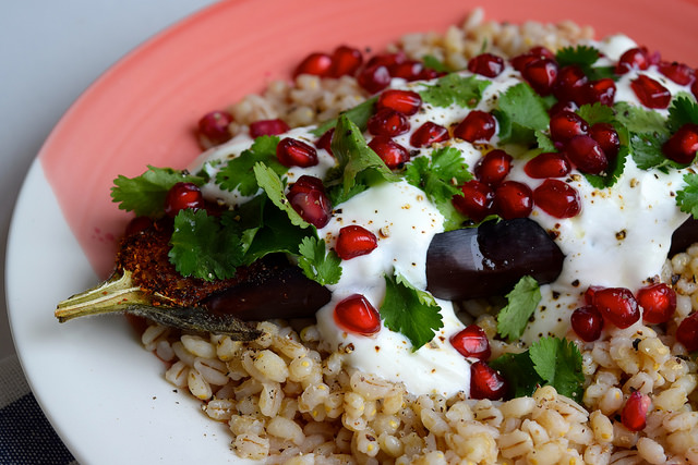 Middle Eastern Spiced Aubergine #aubergine #eggplant #middleeastern #barley #pomegranate #yogurt