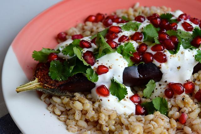 Middle Eastern Spiced Aubergine #aubergine #eggplant #middleeastern #barley #pomegranate #yogurt