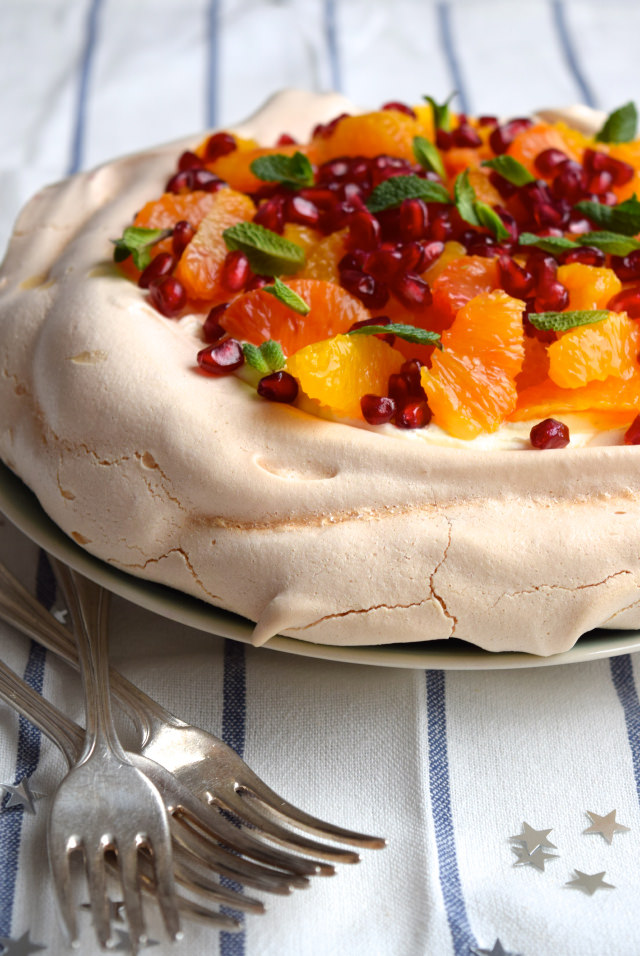 A (Smaller) Winter Citrus Pavlova #pavlova #bloodorange #dessert #pomegranate #mint #meringue