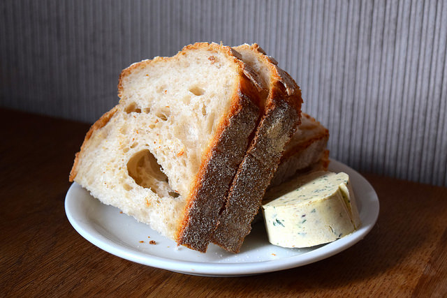 Sourdough with Anchovy Butter at Oldroyd, Islington