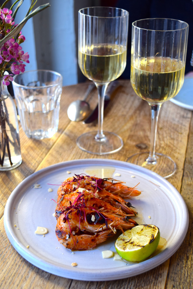Griddled Prawns and White Wine at Chicama, Chelsea