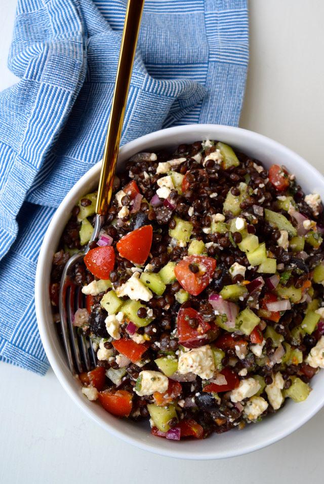 Greek Salad Lentil Bowl #lentil #greek #feta #tomato #cucumber #oregano