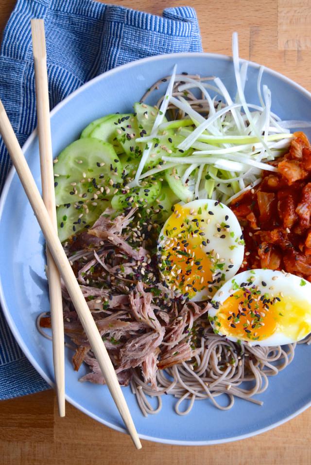 Cold Korean Noodle Bowls #korean #noodles #bowlfood #duck #eggs #soba