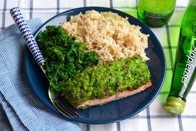 Lemony Pea & Mint Crusted Salmon