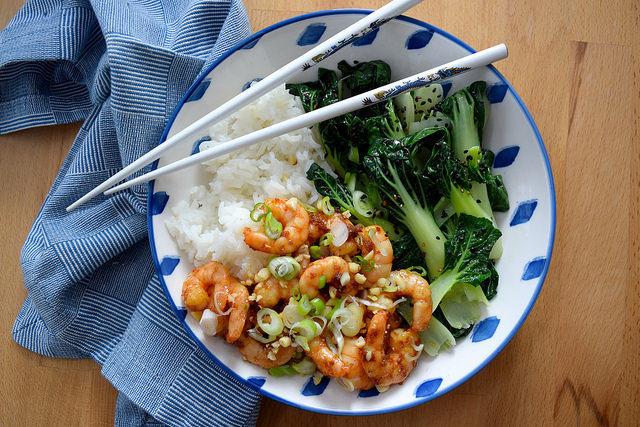Korean Prawn Rice Bowl with Sesame Pak Choi #korean #prawn #shrimp #pakchoi