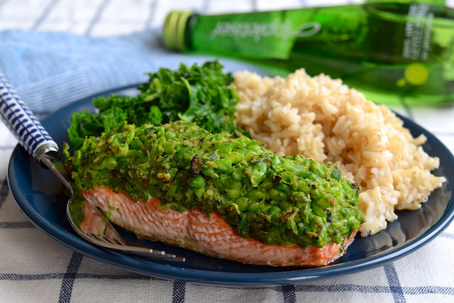 Pea & Mint Crusted Salmon with Rice & Kale