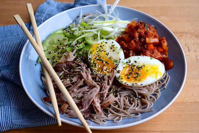 Cold Korean Noodle Bowls with Soft Eggs & Crispy Duck #korean #noodles #bowlfood #duck #eggs #soba