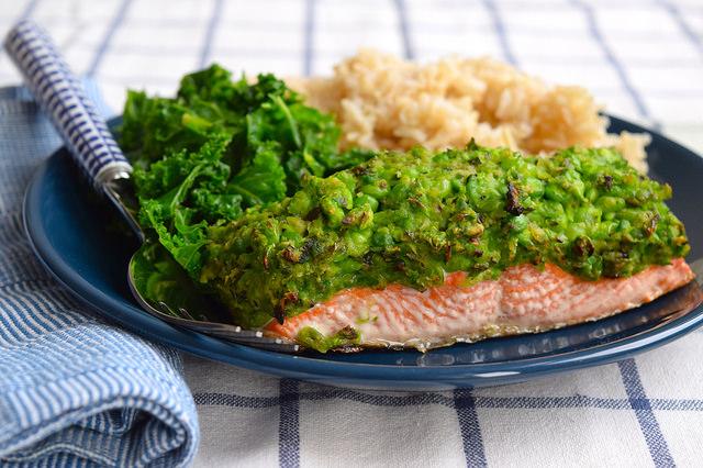 Pea & Mint Crusted Salmon