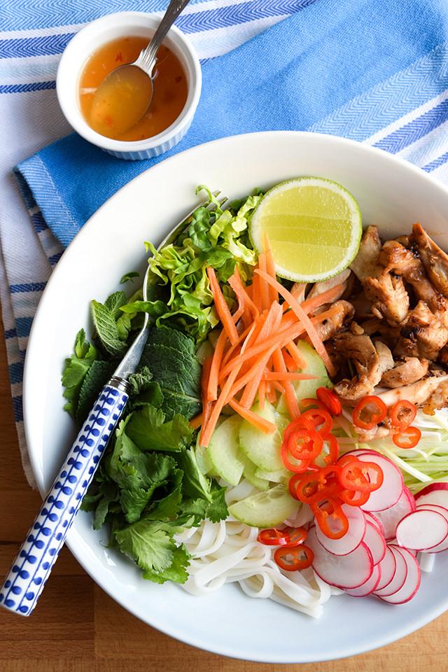 Easy Griddled Vietnamese Chicken Noodle Bowls