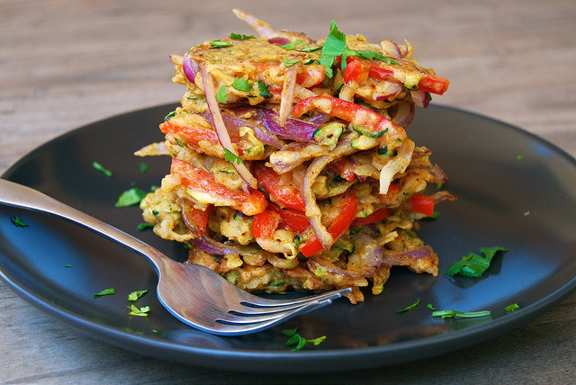 Indian Spiced Leftover Summer Vegetable Fritters #indian #fritters #veggie #dinner