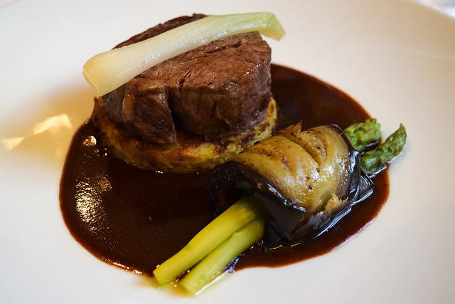 Beef, Aubergine & Asparagus at Manoir de Malagorse, France #beef #asparagus #aubergine #eggplant #hotel #travel #france
