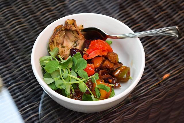 Marinated Vegetable Salad at The Royal Horseguards Hotel's Secret Herb Garden #vegetables #tapas #gingarden #pubgarden #hotel #london