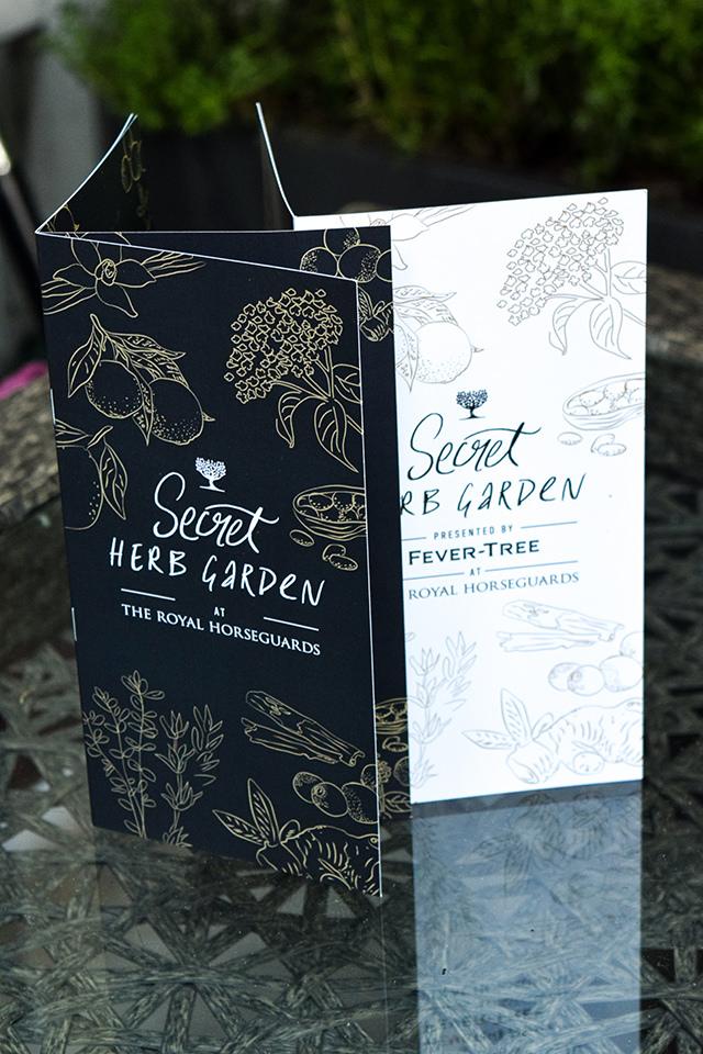 Gin Menu at The Royal Horseguards Hotel's Secret Herb Garden #gingarden #pubgarden #hotel #london