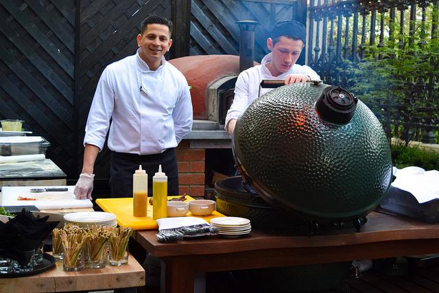 Big Green Egg Barbecue at The Royal Horseguards Hotel's Secret Herb Garden #gingarden #pubgarden #hotel #london