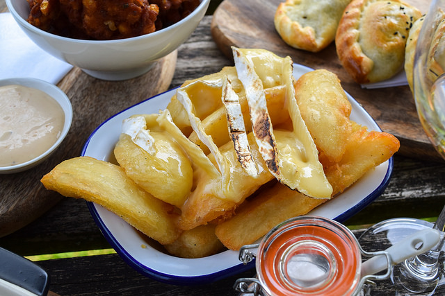 Truffle Chips with Melty Brie at The Compasses Inn, Crundale