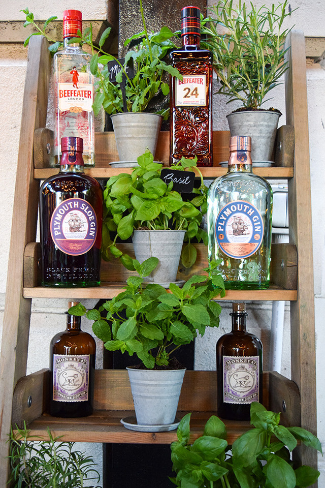 Gin and Herb Selection at The Royal Horseguards Hotel's Secret Herb Garden #gin #herbs #gingarden #pubgarden #hotel #london