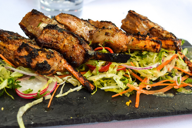 Barbecued Lamb Chops at The Royal Horseguards Hotel's Secret Herb Garden #lamb #barbecue #grilling #gingarden #pubgarden #hotel #london
