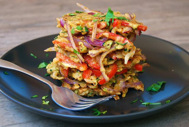 Indian Spiced Leftover Summer Vegetable Fritters #indian #fritters #leftovers #veggies #vegetarian