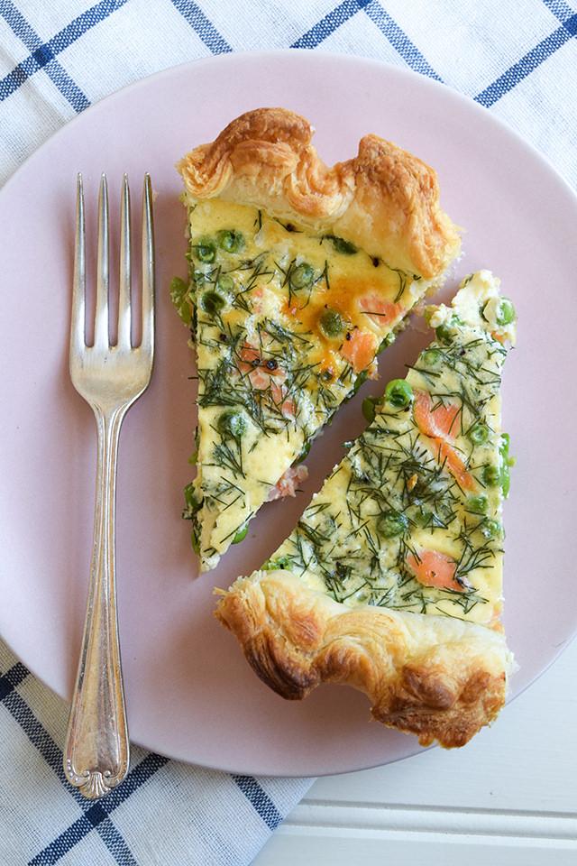 Slices of Smoked Salmon & Green Pea Quiche #quiche #salmon #pea #puffpastry