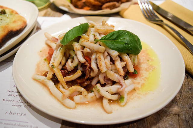 Grilled Squid with Cherry Tomatoes at La Goccia, Covent Garden #squid #tomatoes #coventgarden #london