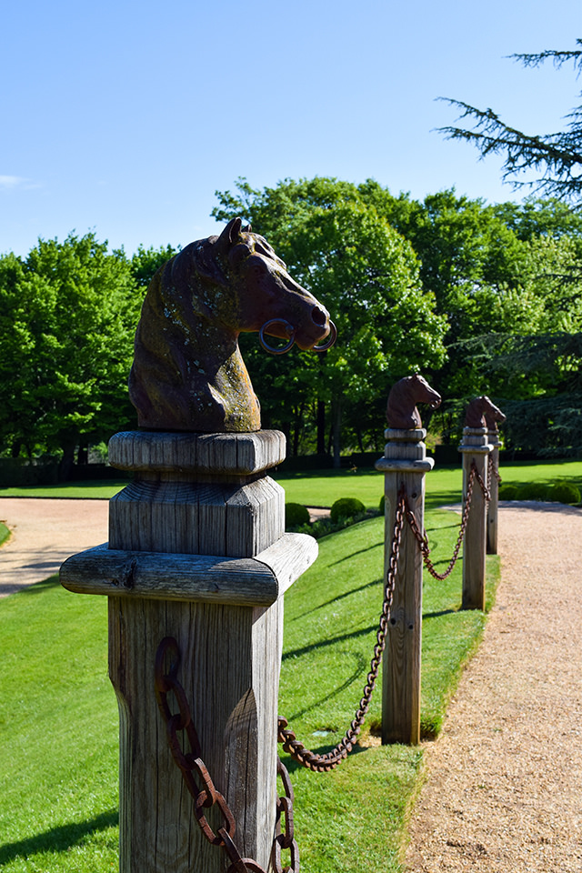Horse Fence Post at the Jardins de Eyrugnac #gardens #eyrugnac #dordogne #france #travel